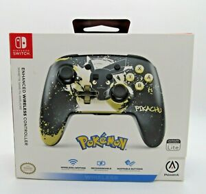 Nintendo Switch Rechargeable Wireless Controller Pokemon Pikachu Black PowerA