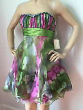 NEW JASY COUTURE SZ 6 LATIN BALLROOM DANCE DRESS GREEN PINK SILVER BLUE