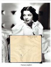 Frances Langford Autograph Singer Hooray for Hollywood I'm in the Mood for Love