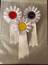 1 X 1st--3rd 1 Tier Rosettes With Wide Pleated Trim Edge Ribbon