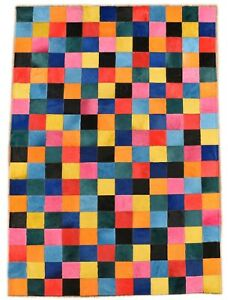 EXKLUSIVER KUHFELL TEPPICH PATCHWORK BUNT 120 x 180 cm  COWHIDE RUG MULTICOLOR