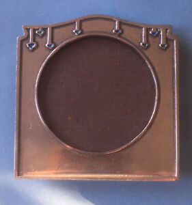 Vintage Art Deco Style Square Pewter Silver Tone Photo Frame; Blue Enamel (a)