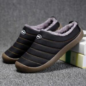 Men Cotton House Slippers Warm Fur Lined Slip on Shoes Outdoor Indoor Slides New