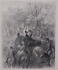 """Doré-Londres; 'tarde en el parque"""", grabado antiguo madera original, C.1870"""