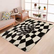 Creative Black White Square 3D Print Home Bedroom Door Mat Non-slip Floor Carpet