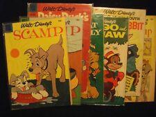 Vintage 1955-58 Dell Walt Disney BYE-GONE CHARACTERS comic book LOT of 7