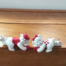 Estate Pair Lot of 2 Porcelain Boy Girl White Teddy Bears w Red Valentine Heart