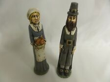 Wood Holiday Decor Thanksgiving Pilgrims Men & Woman Hand Carved