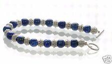 "Tocara Solid 925 Sterling Silver Lapis Toggle Bracelet 7-1/2"" L '"