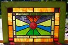 arts and crafts sunset / sunrise leaded stained glass window