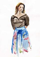 DOROTHY KING Watercolour Painting WOMAN IN BLUE SKIRT c1970 Impressionist