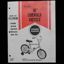 Vintage Sears 16 Inch BMX Sidewalk Bike Owners Manual Model No. 512.478130