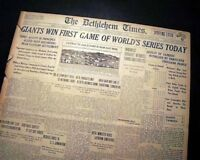 NEW YORK GIANTS vs. NY Yankees World Series of Baseball Game #1 1922 Newspaper