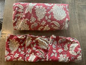 Pottery Barn Bed Set Full Queen Duvet 3 Pillow Shams Red Cream Cotton Linen