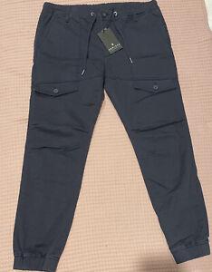 HENLEYS Saxon Cargo Look Pants size L Navy Blue Cuffed