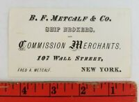 Vintage 1900's Ship Brokers Merchants New York Business Card