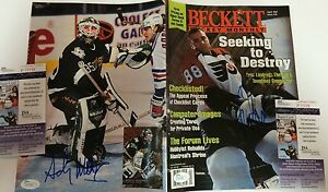 ERIC LINDROS AND ANDY MOOG AUTOGRAPHED SIGNED BECKETT MAGAZINE JSA COA