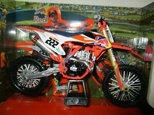Neuf Ray Toni Cairoli KTM Sxf 450 1:10 Moulé Motocross Jouet Modèle Vélo Orange
