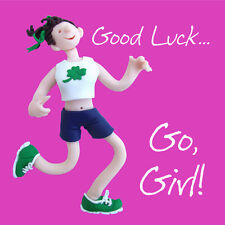 Good Luck Go Girl Greeting Card One Lump or Two Holy Mackerel Cards