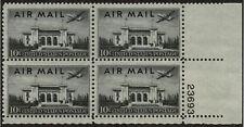 US USA Sc# C34 MNH FVF PLATE# BLOCK Martin 2-0-2 Airplane Pan Am Union Building