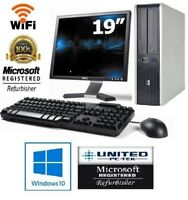 "HP OR DELL Desktop PC 4GB 500GB HDD 19"" LCD Monitor WiFi Windows 10 Warranty"