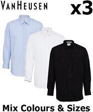 VAN HEUSEN MENS SHIRTS X3 POLYESTER/COTTON BUSINESS POPLIN CLASSIC FIT A101
