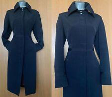 10 UK Karen Millen Black Collared Longline Mac Raincoat Jacket Trench Coat EU 38