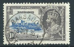 Barbados 1935 KGV Silver Jubilee 11/2d Blue/Grey fine used Good postmark St Lucy