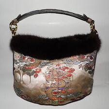 RARE Limited Edition COACH Signature Kimono Silk & Mink Hobo Handbag Purse #3591