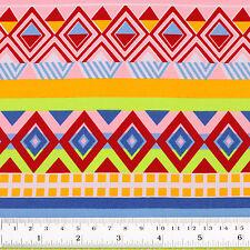 Cotton Fabric FQ - Ethnic Tribal Folk Tribe Square Triangle Geometric Stripe VR3