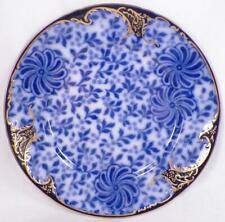 Royal Doulton Flow Blue Pinwheel Luncheon Plate Porcelain Gold Paint A9394