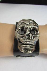 New Men Black Faux Leather Biker Fashion Skull Head Quartz Watch Bracelet Punk