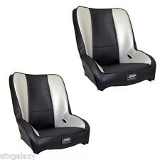 PRP Low Back Front Seats Pair (2) Carbon Black Silver Yamaha Rhino 450 660 700