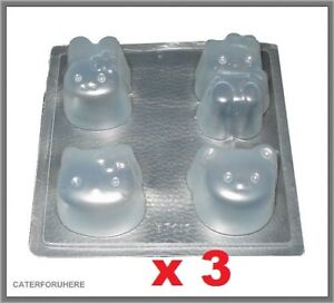 3 HELLO KITTY CAT PLASTIC CHOCOLATE JELLY MOULD PARTY BIRTHDAY CAKE DECORATING