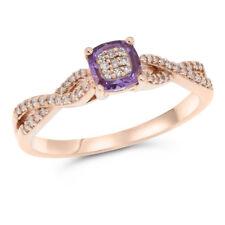 14K ROSE GOLD DIAMOND & PINK AMETHYST GEMSTONE COCKTAIL HALO RING