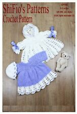 CROCHET PATTERN for BABY GIRL JACKET DRESS HAT 0-3MTHS #158 NOT CLOTHES