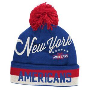 NEW YORK AMERICANS AMERK KNIT BEANIE HAT CAP SCRIPT CUFFED W/ POM TOQUE NHL MWT
