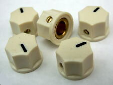 5 Small cream knobs 15mm diameter 10mm high 7 sided minature ABS Brass + screw