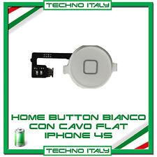 TASTO HOME PULSANTE CENTRALE CURSORE FLAT FLEX PER  IPHONE 4S BIANCO WHITE