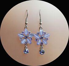 Vintage Flower Dangle Earrings, Violet Australia Crystal and Rhinestone E1321