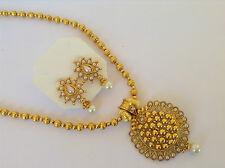 Bollywood fashion jewellery gold tone pearl stone design necklace set & earring