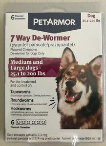 PETARMOR 7 Way De-Wormer 6 Flavored Chewables  For Dogs ONLY Exp 06/2023