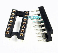 100pcs 14Pin DIP SIP Round IC Sockets Adaptor Solder Type gold plated machined
