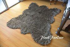 2 x 4  Black Tip Wolf Bear skin Lodge Cabin Decor Accent Home Area Rug Plush Fur