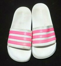 Adidas Mens Cloudfoam White and Hot pink Slides Size 8