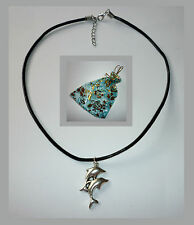 Black Leather Necklace Dolphin Duo Pendant on