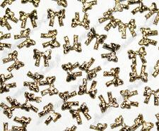 100 bijoux décos d'ongles Nail Art NOEUDS tissu Or
