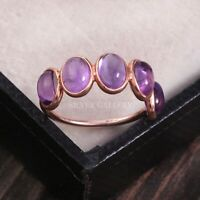Amethyst Solid 925 Sterling Silver Ring , Handmade Ring Size -6.5 R 276