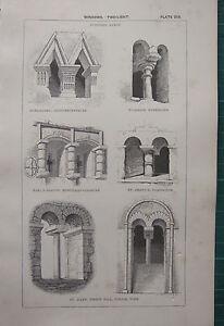 1850 ANTIQUE GOTHIC ARCHITECTURE PRINT ~ WINDOWS TWO LIGHT SAXON WICKHAM ST MARY