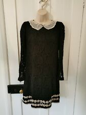Derhy Lace Beaded Collar Gothic Dress Size Small 8
